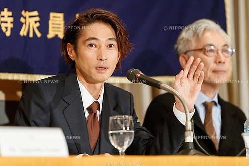 (L to R) Yosuke Kubozuka and Issey Ogata, cast of the film SILENCE (Chinmoku) speak during a press conference at the Foreign Correspondents' Club of Japan on January 12, 2017, Tokyo, Japan. The Japanese cast of the film attended the news conference after a special screening function at Kadokawa Cinema in Yurakucho. The film is directed by Martin Scorsese and hits Japanese theaters on January 21. (Photo by Rodrigo Reyes Marin/AFLO)
