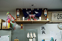 MAY 16, 2014 - KOJIMA, KURASHIKI, JAPAN: Kamidana, a little shrine at Betty Smith CO. office. (Photograph / Ko Sasaki)