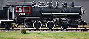 A 1911 Baldwin 0-6-0 steam locomotive on display at the Grand Trunk Railroad Museum in Gorham, New Hampshire USA