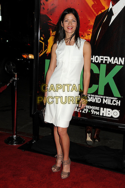 """Jill Hennessy.HBO's """"Luck"""" Los Angeles Premiere held at Grauman's Chinese Theatre, Hollywood, California, USA..January 25th, 2012.full length dress white sleeveless .CAP/ADM/BP.©Byron Purvis/AdMedia/Capital Pictures."""