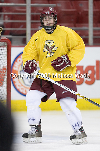 Matt Greene takes part in a drill. The Boston College Eagles took their morning skate on Saturday, October 28, 2006, at the Kohl Center in Madison, Wisconsin.<br />