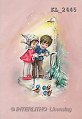 Interlitho, CHRISTMAS SANTA, SNOWMAN, nostalgic, paintings, girl, boy, birds(KL2445,#X#) Weihnachten, nostalgisch, Navidad, nostálgico, illustrations, pinturas