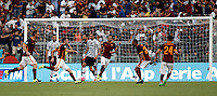 Calcio, Serie A: Roma vs Juventus. Roma, stadio Olimpico, 30 agosto 2015.<br /> Roma&rsquo;s Miralem Pjanic, third from left, celebrates after scoring on a free kick during the Italian Serie A football match between Roma and Juventus at Rome's Olympic stadium, 30 August 2015.<br /> UPDATE IMAGES PRESS/Isabella Bonotto
