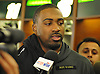 Jordan Jenkins #48, New York Jets linebacker, speaks to the media at Atlantic Health Jets Training Center in Florham Park, NJ on Monday, Jan. 2, 2017. Players cleaned out their lockers one day after their 5-11 season concluded.