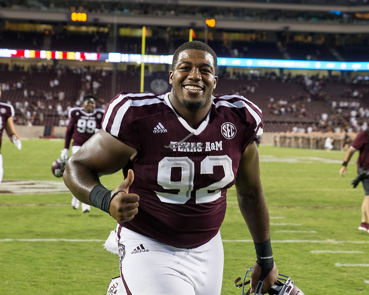 Texas A&M Aggies defensive lineman Zaycoven Henderson (92) after Texas A&M's 24-14 win over Nicholls State at Kyle Field in College Station, Texas on Saturday, September 9, 2017.