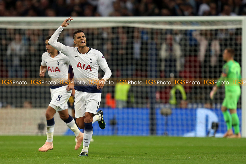 Erik Lamela of Tottenham Hotspur celebrates scoring the second goal during Tottenham Hotspur vs FC Barcelona, UEFA Champions League Football at Wembley Stadium on 3rd October 2018