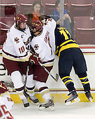 Jimmy Hayes (BC - 10), Barry Almeida (BC - 9), Elliott Sheen (Merrimack - 11) - The Boston College Eagles defeated the Merrimack College Warriors 4-3 on Friday, October 30, 2009, at Conte Forum in Chestnut Hill, Massachusetts.
