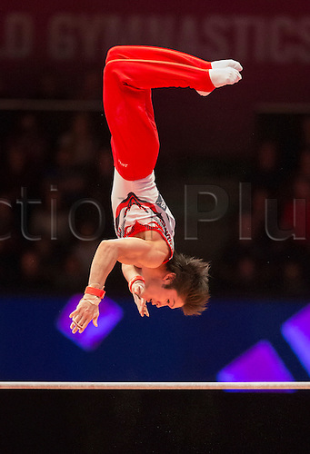 30.10.2015. Glasgow, Scotland. FIG Artistic Gymnastics World Championships. Day Eight. Kohei UCHIMURA (JPN) 2014 World Championships Team Silver Medallist and All-Around Gold Medallist and Horizontal Bar Silver Medallist during his Horizontal Bar routine in the Men's All-Around Final.