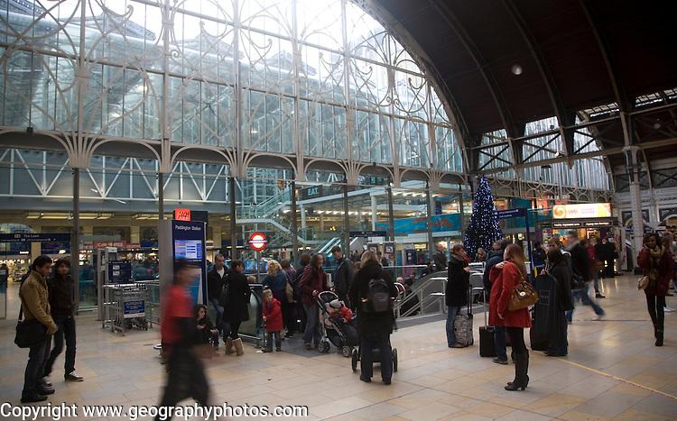 People on the concourse, Paddington railway station, London, England