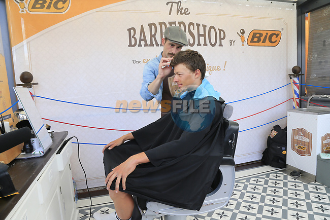 Oliver Naesen (BEL) AG2R La Mondiale gets a quick harcut in the Tour Village in Mondorf-les-Bains before the start of Stage 4 of the 104th edition of the Tour de France 2017, running 207.5km from Mondorf-les-Bains, Luxembourg to Vittel, France. 4th July 2017.<br /> Picture: Eoin Clarke | Cyclefile<br /> <br /> <br /> All photos usage must carry mandatory copyright credit (&copy; Cyclefile | Eoin Clarke)