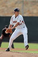 Andrew Alvarez #36 of the Pepperdine Waves pitches against the Texas A&M Aggies at Eddy D. Field Stadium on March 23, 2012 in Malibu,California. Texas A&M defeated Pepperdine 4-0.(Larry Goren/Four Seam Images)
