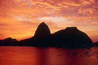 SUNRISE OVER SUGARLOAF (PAO AZUCAR)<br /> Composed Of Gneiss Impegnated Granite<br /> Botofodo bay in Rio de Janeiro, Brazil