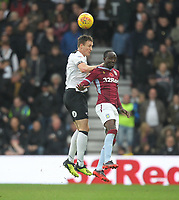 Derby County's Craig Forsyth jumps with Aston Villa's Albert Adomah<br /> <br /> Photographer Mick Walker/CameraSport<br /> <br /> The EFL Sky Bet Championship - Derby County v Aston Villa - Saturday 10th November 2018 - Pride Park - Derby<br /> <br /> World Copyright &copy; 2018 CameraSport. All rights reserved. 43 Linden Ave. Countesthorpe. Leicester. England. LE8 5PG - Tel: +44 (0) 116 277 4147 - admin@camerasport.com - www.camerasport.com