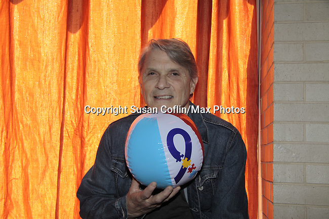 """Jay Hammer, """"Fletcher"""" - Guiding Light holds an Autism beach ball - 11th Annual Daytime Stars & Strikes Event for Autism - 2015 on April 19, 2015 hosted by Guiding Light's Jerry ver Dorn (& OLTL) and Liz Keifer at Bowlmor Lanes Times Square, New York City, New York. (Photos by Sue Coflin/Max Photos)"""