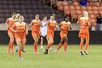 Houston, TX - Saturday July 08, 2017: Janine Beckie celebrates her goal with her teammates during a regular season National Women's Soccer League (NWSL) match between the Houston Dash and the Portland Thorns FC at BBVA Compass Stadium.