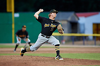 West Virginia Black Bears relief pitcher Conner Loeprich (25) delivers a pitch during a game against the Batavia Muckdogs on June 19, 2018 at Dwyer Stadium in Batavia, New York.  West Virginia defeated Batavia 7-6.  (Mike Janes/Four Seam Images)