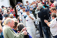 Picture by Alex Whitehead/SWpix.com - 12/09/2014 - Cricket - LV County Championship Div One - Nottinghamshire CCC v Yorkshire CCC, Day 4 - Trent Bridge, Nottingham, England - Yorkshire's stand-in captain Joe Root leads the Yorkshire side out to collect the Championship trophy.