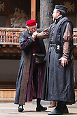 London, UK. 25 April 2015. Jonathan Pryce as Shylock and Dominic Mafham as Antonio. William Shakespeare's The Merchant of Venice is performed at Shakespeare's Globe, Globe Theatre, from 23 April - 7 June 2015. With Daniel Lapaine as Bassanio, Rachel Pickup as Portia and Jonathan Pryce as Shylock. Photo: Bettina Strenske