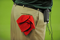 Aug. 28, 2009; Glendale, AZ, USA; Detail view of the red flag used for coaches challenges at the game between the Green Bay Packers against the Arizona Cardinals during a preseason game at University of Phoenix Stadium. Mandatory Credit: Mark J. Rebilas-