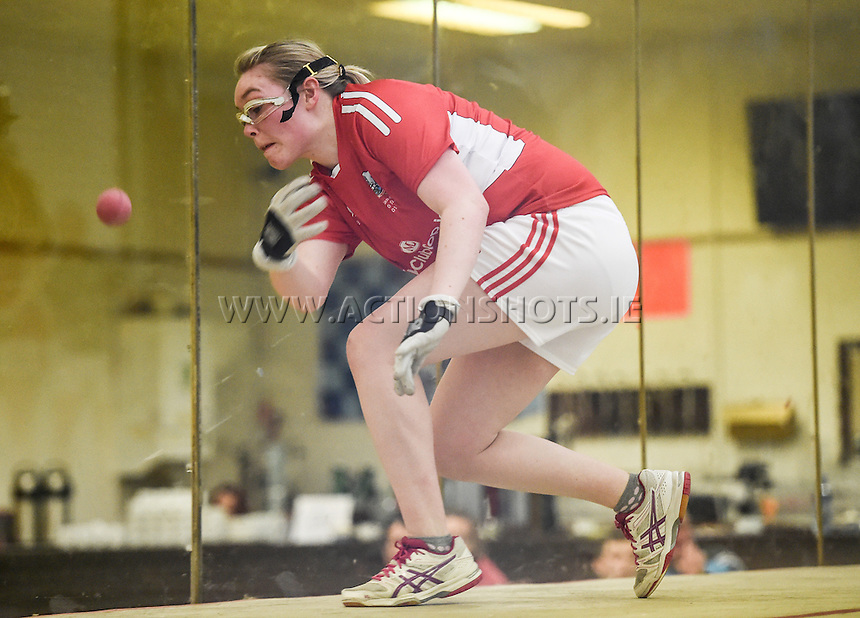 24/09/2016;Myclubshop.ie All-Ireland Handball 60x30 Championship, Ladies Doubles Final, Catriona Casey and Aishling O&rsquo;Keeffe (Cork) vs Martina McMahon and Katie McCarthy (Limerick); GAA Handball Center, Croke Park, Dublin. <br /> Aishling O&rsquo;Keeffe, Cork.<br /> Photo Credit: actionshots.ie/Tommy Grealy