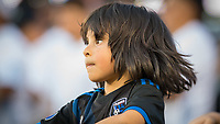 SAN JOSÉ CA - JULY 27: Young San Jose Earthquakes fan during a Major League Soccer (MLS) match between the San Jose Earthquakes and the Colorado Rapids on July 27, 2019 at Avaya Stadium in San José, California.