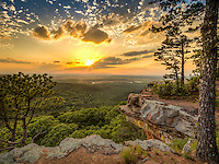 Sunset from Petit Jean Sate Park in cental Arkansas.  Looking to the west from the CCC overlook at the Arkansas River valley below.
