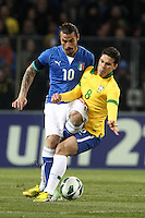 """Pablo Osvaldo Italia Hernanes Brasile.Ginevra 21/03/2013 Stadio """"De Geneve"""".Football Calcio Amichevole Internazionale.Brasile vs Italia / Brazil Vs Italy .Foto Insidefoto Paolo Nucci."""