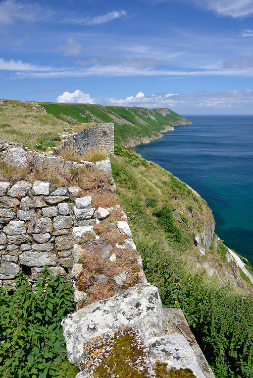 The coastline of Lundy Island from The Castle and the landing bay looking along the east side