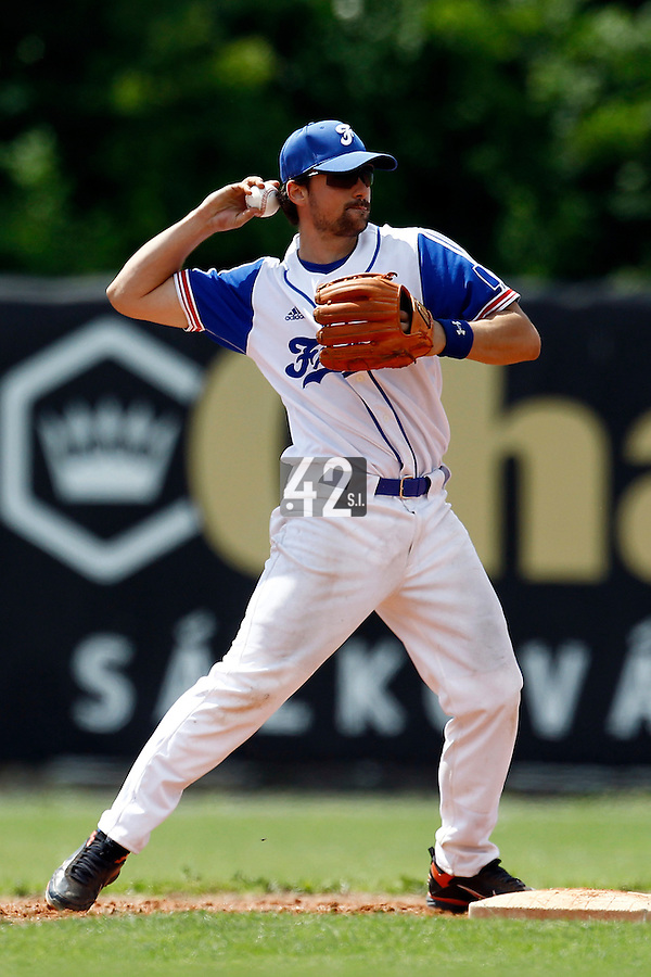 23 June 2011: Florian Peyrichou of Team France is seen during USSSA 5-3 win over France, at the 2011 Prague Baseball Week, in Prague, Czech Republic.