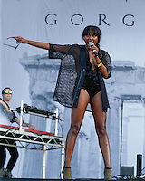 Lulu James with Gorgon City performs on the Main Stage during The New Look Wireless Music Festival at Finsbury Park, London, England on Saturday 04 July 2015. Photo by Andy Rowland.