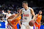 Real Madrid's player Willy Hernangomez and Valencia Basket's Dubljevic during the first match of the Semi Finals of Liga Endesa Playoff at Barclaycard Center in Madrid. June 02. 2016. (ALTERPHOTOS/Borja B.Hojas)