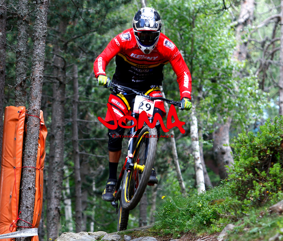 Baptiste Pierron (FRA)Downhill training sesion, UCI, Moutain Bike World Cup , Vallnord Andorra. 12/07/2018