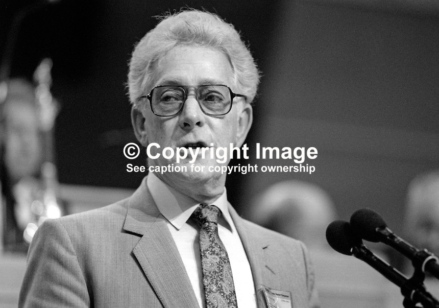 Bill Miles, aka William Miles, National Officer, SOGAT 82, trade union, UK, at annual conference, Labour Party, September 1986. 19860936BM<br /> <br /> Copyright Image from Victor Patterson, 54 Dorchester Park, Belfast, UK, BT9 6RJ<br /> <br /> t1: +44 28 9066 1296 (from Rep of Ireland 048 9066 1296)<br /> t2: +44 28 9002 2446 (from Rep of Ireland 048 9002 2446)<br /> m: +44 7802 353836<br /> <br /> e1: victorpatterson@me.com<br /> e2: victorpatterson@gmail.com<br /> <br /> The use of my copyright images is subject to my Terms &amp; Conditions.<br /> <br /> It is IMPORTANT that you familiarise yourself with them. They are available on my website at www.victorpatterson.com.<br /> <br /> None of my copyright images may be used on a website unless they are visibly watermarked, i.e. &copy; Victor Patterson within the body of the visible image. Metadata denoting my copyright must NOT be deleted. <br /> <br /> Web use is extra at currently recommended NUJ rates.
