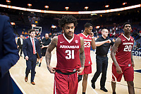 NWA Democrat-Gazette/CHARLIE KAIJO Arkansas Razorbacks guard Anton Beard (31) returns to the locker room after the Southeastern Conference Men's Basketball Tournament semifinals, Saturday, March 10, 2018 at Scottrade Center in St. Louis, Mo. The Tennessee Volunteers knocked off the Arkansas Razorbacks 84-66