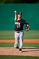 Chattanooga Lookouts starting pitcher Paul Clemens (27) delivers a pitch during a game against the Jackson Generals on April 27, 2017 at The Ballpark at Jackson in Jackson, Tennessee.  Chattanooga defeated Jackson 5-4.  (Mike Janes/Four Seam Images)