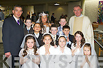 Pupils from Mr Gerard Lynch class in St Oliver NS Killarney who received their first Holy Communion in the Church of the Ressurection on Saturdayfront row l-r: Clodagh, Cornilia, Emillia, Iza. Middle row: Michael, Dylan, Sabastian, Ella. Back row: Gerard Lynch, Abe, Lisa, Darren and Fr Nicolas Flynn....