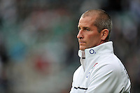 England Head Coach Stuart Lancaster looks on during the pre-match warm-up. QBE International match between England and Ireland on September 5, 2015 at Twickenham Stadium in London, England. Photo by: Patrick Khachfe / Onside Images
