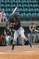 Bristol Pirates infielder Victor Ngoepe (5) at bat during a game against the Greeneville Reds at Pioneer Field on June 19, 2018 in Greeneville, Tennessee. Bristol defeated Greeneville 10-2. (Robert Gurganus/Four Seam Images)