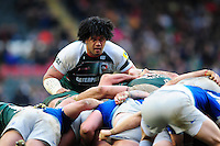 Opeti Fonua of Leicester Tigers looks on at a scrum. Aviva Premiership match, between Leicester Tigers and Saracens on March 20, 2016 at Welford Road in Leicester, England. Photo by: Patrick Khachfe / JMP