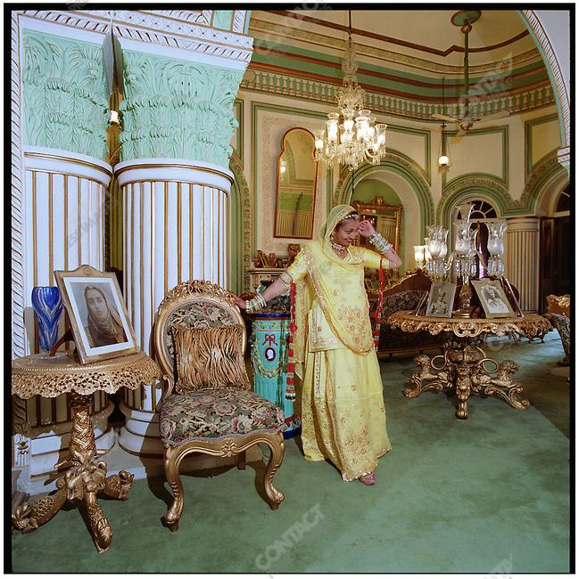 Princess Bhargavi Mewar, daughter of the Maharana of Udaipur, photographed in Shiva Niwas Palace. Udaipur, Rajasthan, India, February 2006.