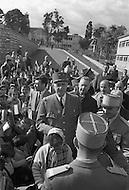 Ecole Militaire d'Infanterie de Cherchell, Algérie, December 11th, 1961. Official visit of the school by the General De Gaulle and Defense Minister Pierre Mesmer.
