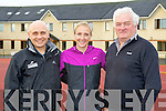 World record holder Paula Radcliffe was welcomed to Riocht athletic track on Wednesday morning by Ger Keane from the Hartmann International Sports Injury Clinic ( left) and Joe Walsh An Riocht
