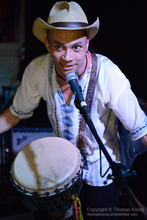 Kaohsiung, Taiwan -- Fao Torres of LA CUMBIA DEL SOL performing at the Paramount Bar on July 06, 2014.