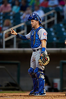 Tennessee Smokies catcher Ian Rice (5) signals to the defense during a game against the Birmingham Barons on August 16, 2018 at Regions FIeld in Birmingham, Alabama.  Tennessee defeated Birmingham 11-1.  (Mike Janes/Four Seam Images)