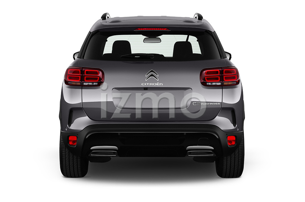 Straight rear view of 2019 Citroen C5-Aircross Shine 5 Door SUV Rear View  stock images