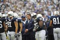 15 November 2008:  Injurred Penn State LB Sean Lee jokes with Abe Koroma (95) during a time out.  .The Penn State Nittany Lions defeated the Indiana Hoosiers 34-7 at Beaver Stadium in State College, PA..