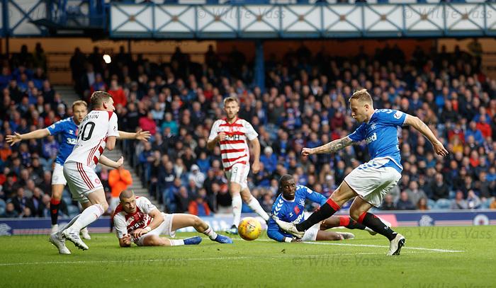 06.10.2019 Rangers v Hamilton: Scott Arfield has a shot blocked