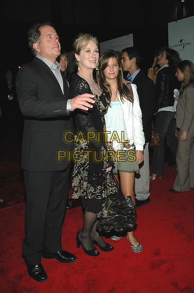 """MARYL STREEP WITH HUSBAND & DAUGHTER.Premiere of her new film """"Prime"""" at the famed Ziegfeld Theater in Manhattan, New York, New York..October 20th, 2005 .Photo Credit: Patti Ouderkirk/AdMedia/Capital Pictures.Ref: PO/ADM.full length mother family husband wife father.www.capitalpictures.com.sales@capitalpictures.com.© Capital Pictures."""