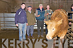 The presentation of the Best Factory Bullock prize during the Dingle Mart Fatstock sale on Saturday afternoon. From left: Sean Ferriter, Pat Flavin, owner Padraig Ferriter (Ballyferriter) and Dingle Mart chairman Michael Kelliher.
