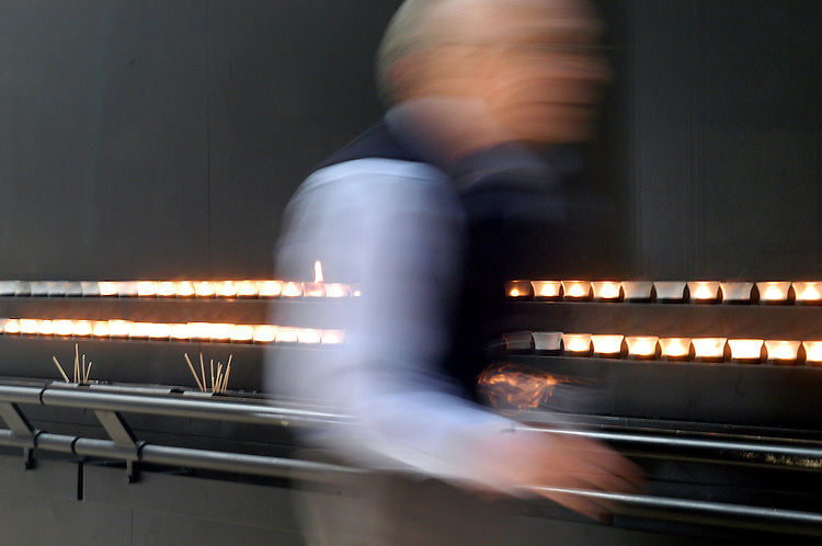 Visitors light candles in the Hall of Remembrance at the Holocaust Memorial Museum in Washington, DC.  This weekend there were a range of events at the Museum for tributes to Holocaust survivors.